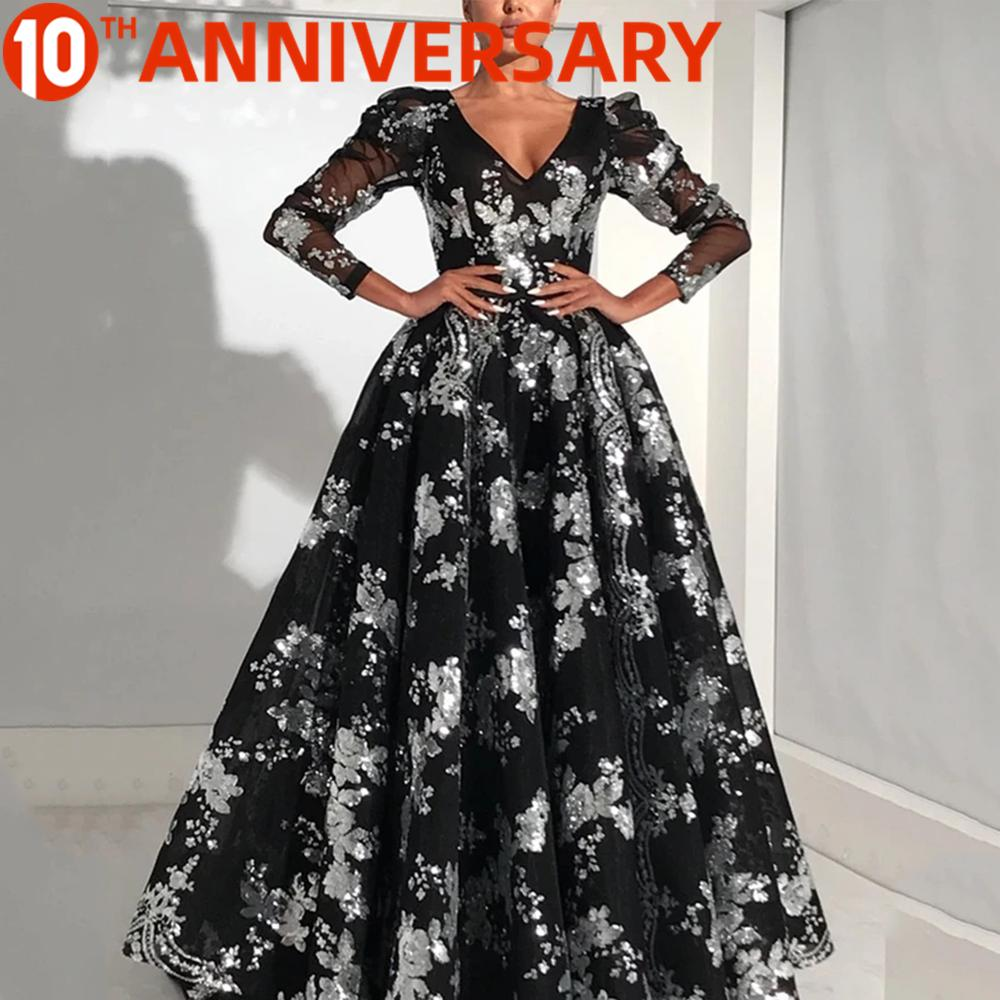 OLLYMURS Printed Dress Prom Dress Sexy V-neck Seven-point Sleeve Embroidered Dress Slim Formal Dance Skirt Evening Dress Long