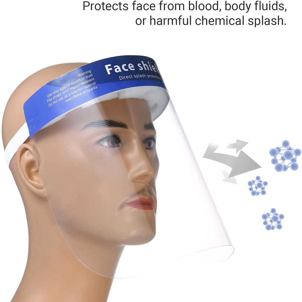 10Pcs/Pack Disposable Safety Face Shield Fluid Resistant Full Face Mask Transparent Single Use Mask Visor Protection From Splash