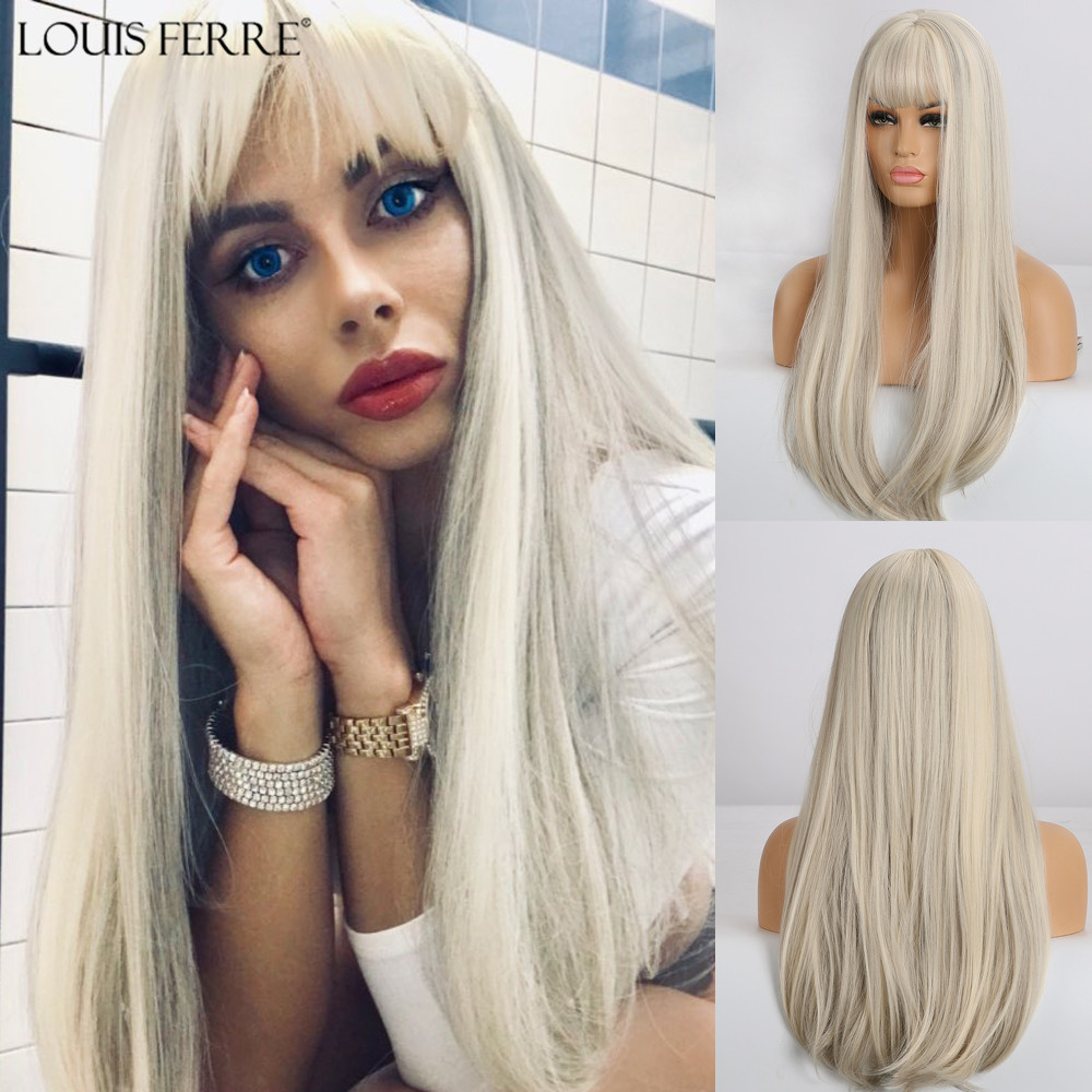 LOUIS FERRE Long Straight Synthetic Wigs Women's Mixed White Gray Wig With Bangs Cosplay Party Hair Wigs High Temperature Fiber