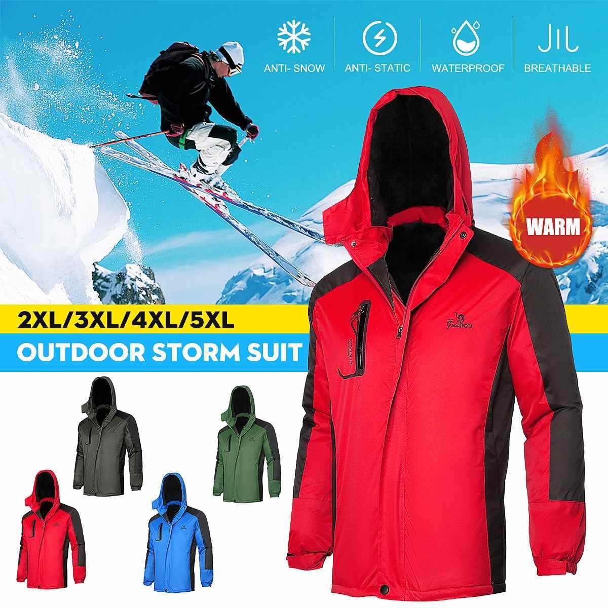 Ski Jaket Bulu Berjajar Tahan Air Salju Mantel Outdoor Hiking Snowboard Wwindproof Kain Hangat Musim Dingin Salju Mendaki Pakaian