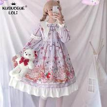 Jepang Sweet Lolita Dress Kucing Pesta Dicetak Lengan Panjang Op Mewah Dolly Dress Wanita Cosplay Retro Sailor Ruffles gaun(China)