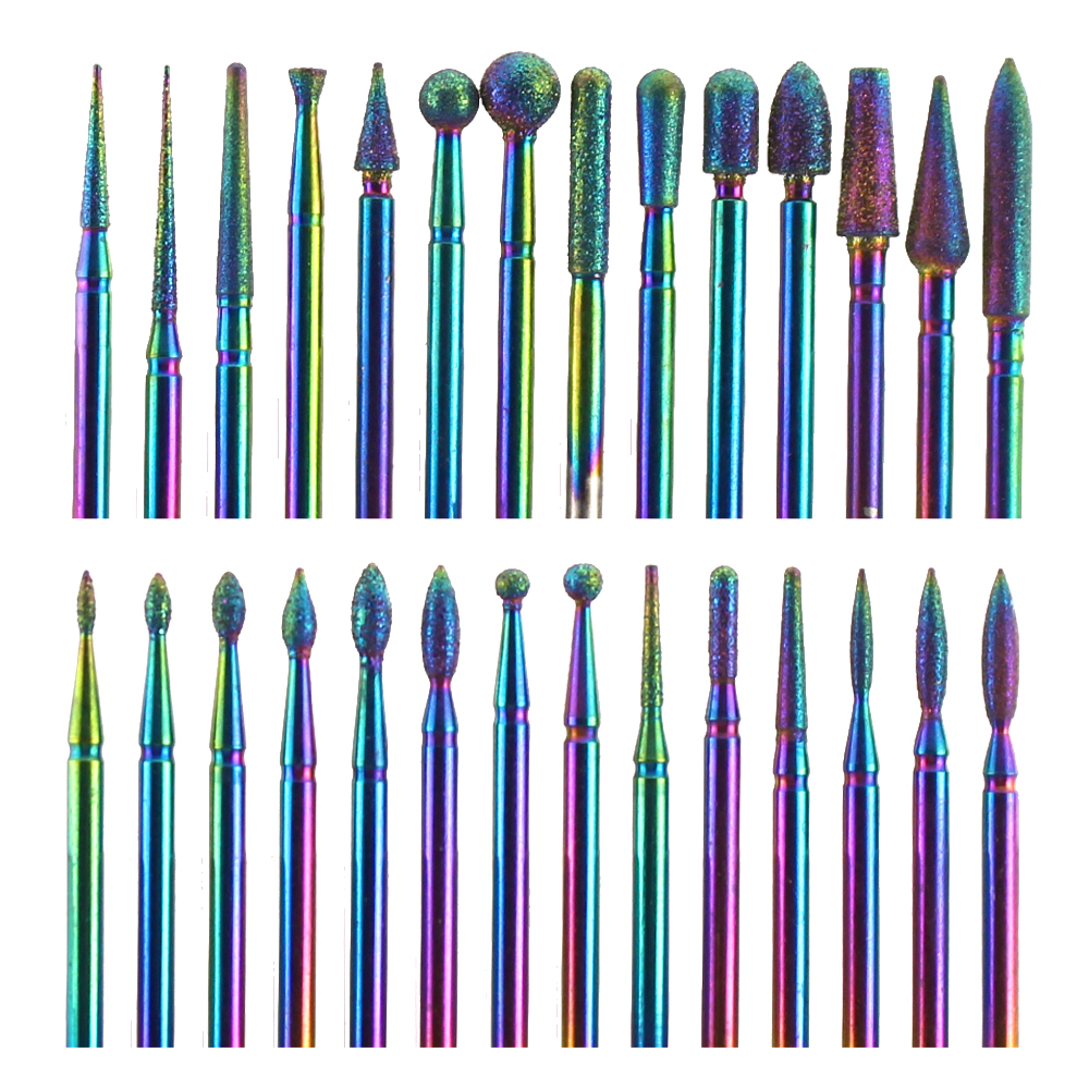 28 Type Diamond Milling Cutter Rainbow Electric Manicure Drills Bits Cuticle Clean Files Nail Art Tools Accessories