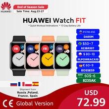 Globale Version HUAWEI Uhr FIT SmartWatch Schnell-Workout Animationen Blut Sauerstoff Uhr FIT 10 Tage Batterie Lebensdauer