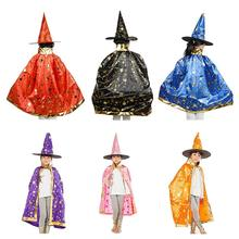 Halloween Costumes Witch Wizard Cloak with Hat for Kids Boys Girls Pink(China)