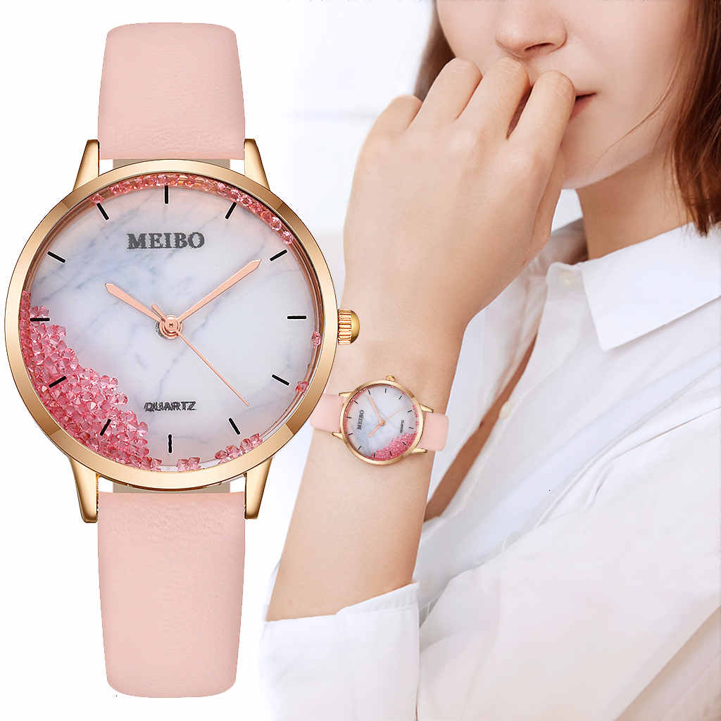 MEIBO Women Leather Moving Diamond Marble Dial Watch Casual Luxury Ladies Quartz Analog Watches Clock