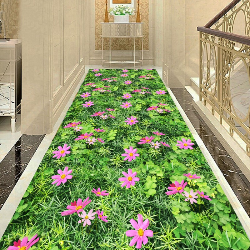 Creative 3D Hallway Carpets And Rugs For Bedroom Living Room Grass Carpet Printing Flower Bathroom Kitchen Runner Rug Anti-Slip