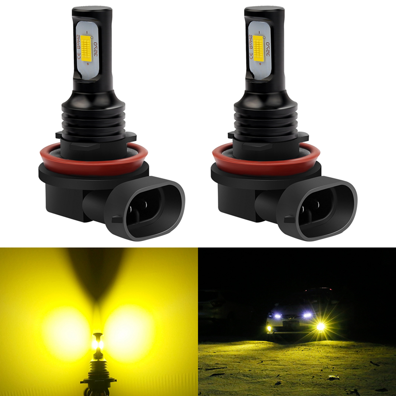 2x H8 H9 H11 H16 9006 <font><b>HB4</b></font> Led Car Fog Light 3000 Kelvin Gold Golden Lighting Running Driving Lamp <font><b>Bulb</b></font> DRL Anti-Fog Golden <font><b>3000K</b></font> image