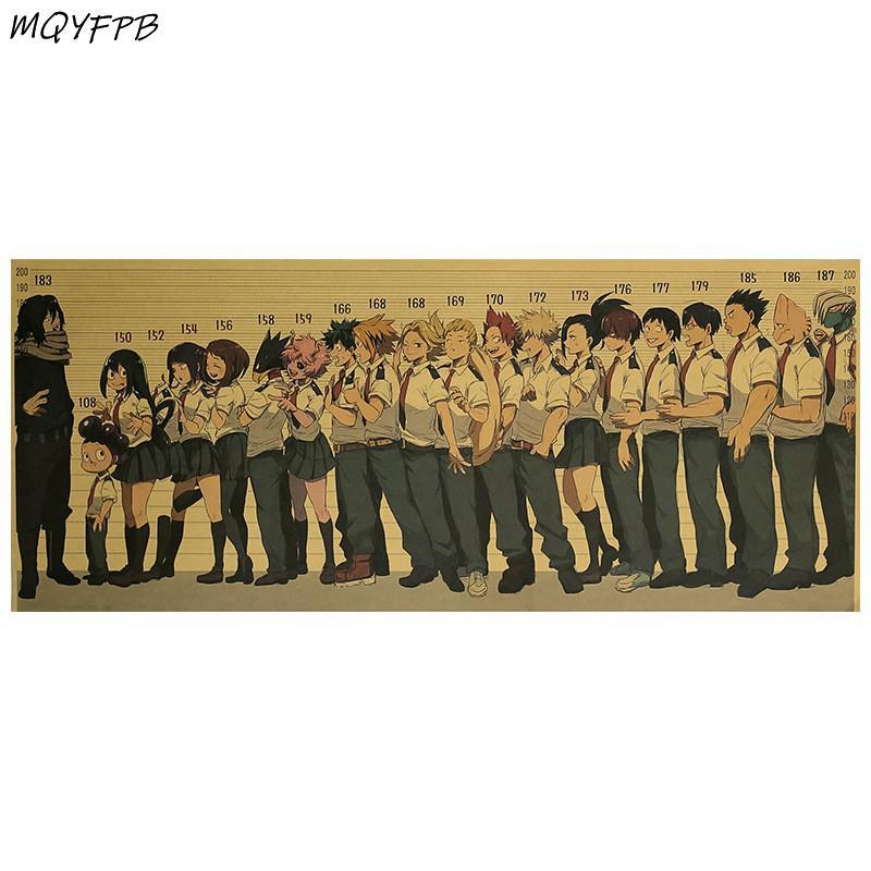 Аниме «Моя геройская Академия», настенные Стикеры из крафт-бумаги, плакаты, декоративные картины, товары для дома 50,5x35 см