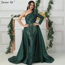 Зеленые Вечерние платья на одно плечо с длинными рукавами, украшенные пайетками, роскошные модные сексуальные вечерние платья со шлейфом,, Serene Хилл LA6619