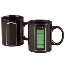 Battery Charging Heat Sensitive Color Changing Coffee Mug Funny Tea Mug - Add Hot Liquid and Watch Battery Turn to be Full