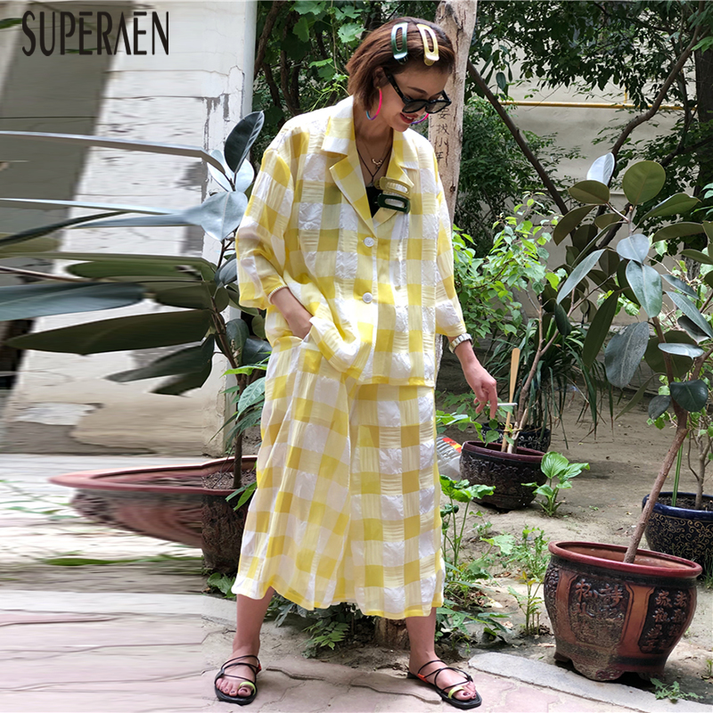 SuperAen Europe Casual Women's Sets Spring And Summer New Long Sleeve Shirts Women 2020 Cotton Fashion Pants Two Pieces