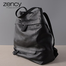 Zency Large Capacity Women Backpack Laptop 100% Genuine Leather Daily Holiday Knapsack Black Schoolbag Big Travel Bag Quality A+(China)