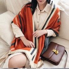 Bufanda de Invierno para mujer, bufandas de caballo de marca de lujo, manta cálida de Cachemira gruesa para mujer, chales de Pashmina, Warps Stole 2020