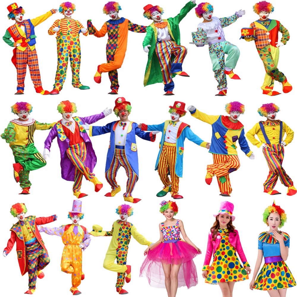 Umorden Halloween Costumes Adult Funny Circus Clown Costume Naughty Harlequin Uniform Fancy Dress Cosplay Clothing For Men Women