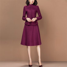 Two Piece Set Slim Fit Long Sleeve Blazer Jacket Tops Elegant Suits Women Work Office Lady Bodycon Dress Female Plus Size(China)
