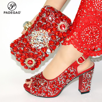 2020 Red Color Comfortable Heels Nigerian Shoes with Matching Bag for Woman African Shoes and Bag Set with Big Crystal