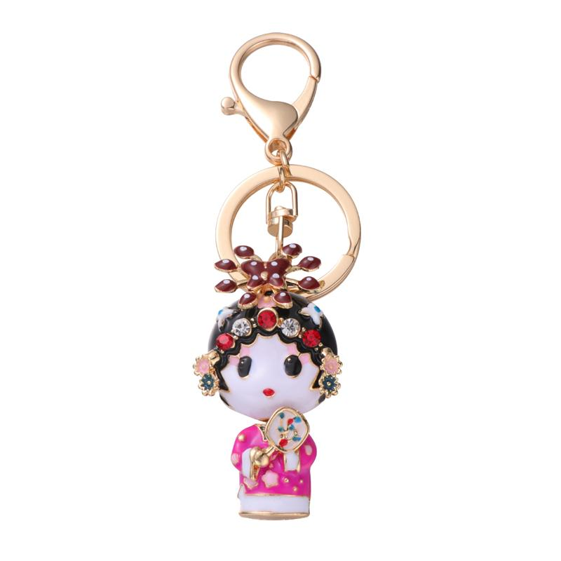 Keychains Key-Holder Rhinestone Craft-Ornaments Creative Pendant Drama Protagonist Feamale title=