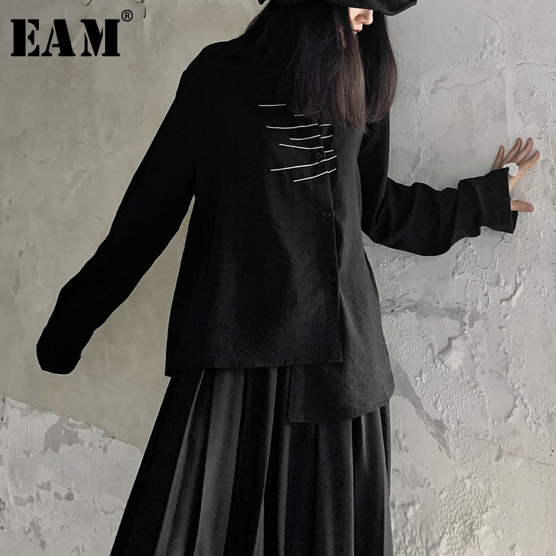 [EAM] Women Black Asymmetrical Big Size Blouse New Lapel Long Sleeve Loose Fit Shirt Fashion Tide Spring Autumn 2020 19A-a705