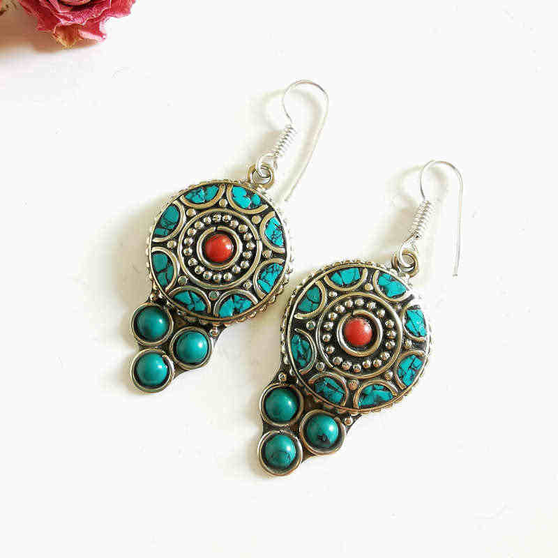 Lovely Vintage Anting-Anting untuk Wanita Tembaga Inlay Manik-manik Berwarna-warni Air Drop Anting-Anting E085