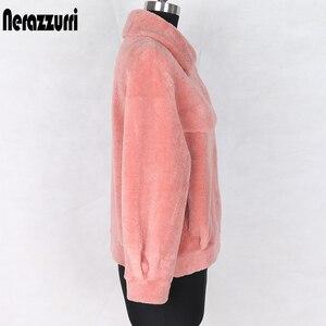 Image 4 - Nerazzurri Winter real fur coat women Short sheep wool jackets Genuine lamb shearling coats fluffy jacket Fur jackets for women