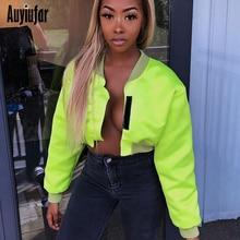 Auyiufar Neon Womens Jacket Casual Short Solid Long Sleeve Coat 2019 Autumn Winter Patchwork Fashion Streetwear Crop Tops