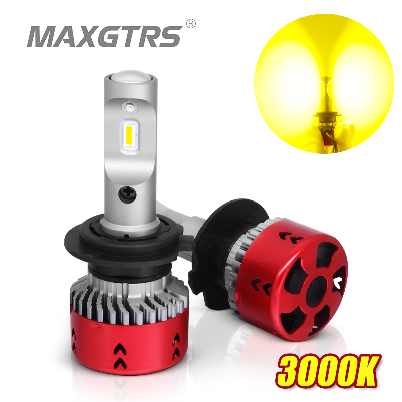 2x 3000K High LPW Mini Type <font><b>LED</b></font> Car Headlight Fog <font><b>Bulbs</b></font> H1 <font><b>H4</b></font> H7 H11/H8 9005 9006 HB3 HB4 Gold <font><b>Yellow</b></font> image