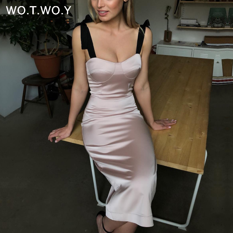 WOTWOY Vintage Bodycon Pencil Dress Women Spaghetti Strap Sexy Shealth Dresses Femme Summer Solid Slash Neck Vestidos Women 2020