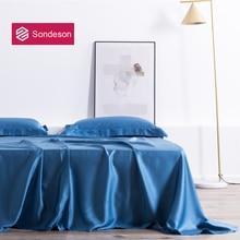Sondeson Beauty Luxury 100% Silk Flat Sheet 25 Momme Silk Queen King Healthy Skin Bed Sheet Pillowcase For Women Man Kids Gift