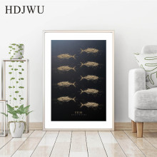 Nordic Creative Black Gold Carved Tuna Animal Decoration Painting Wall Poster for Living Room Hotel DJ272