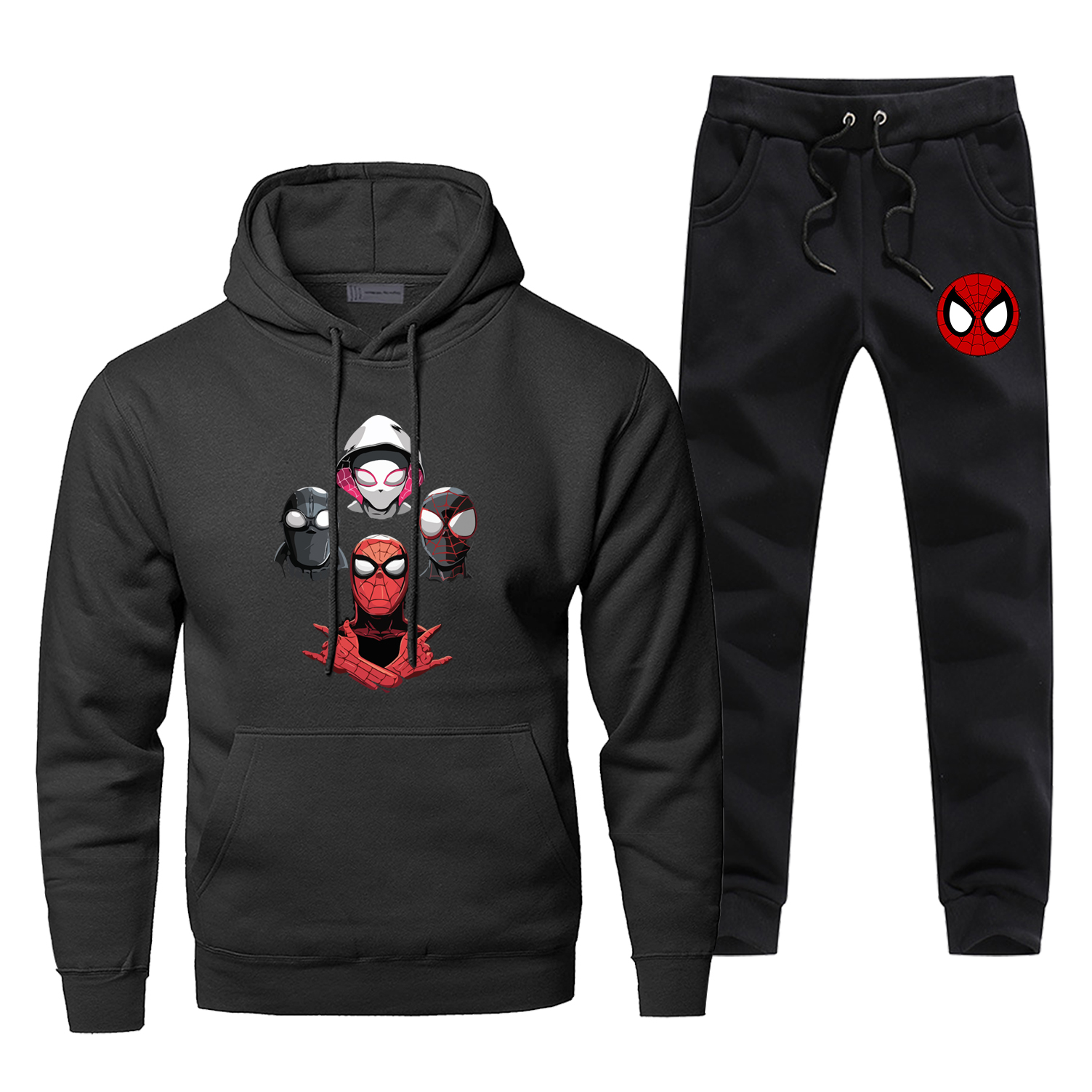 Spider Man: Into The Spider Verse Print Men's Sets Casual Warm Fleece Sweatsuit Fashion Spider-Man Men's Full Suit Tracksuit