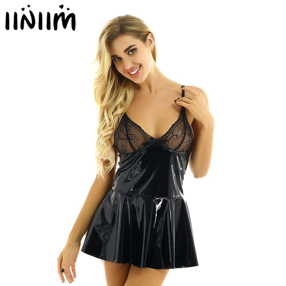 <font><b>Sexy</b></font> Womens Underwear Sheer Lace Cup Transparent Back <font><b>Leather</b></font> Mini Dress <font><b>Babydoll</b></font> Chemises <font><b>Lingerie</b></font> Hot Erotic Cosplay Nightwear image