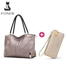 FOXER Bolso de mano de cuero de vaca para mujer, bolsa para paquetes, conjunto de LadyTotes, gran capacidad, con cremallera, bolso de mano para mujer