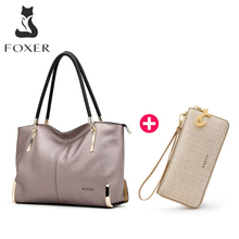 FOXER Brand Women Cow Leather Handbags Shoulder bag Luxury Bundles Bag Set LadyTotes Large Capacity Zipper Handbag Women Purse