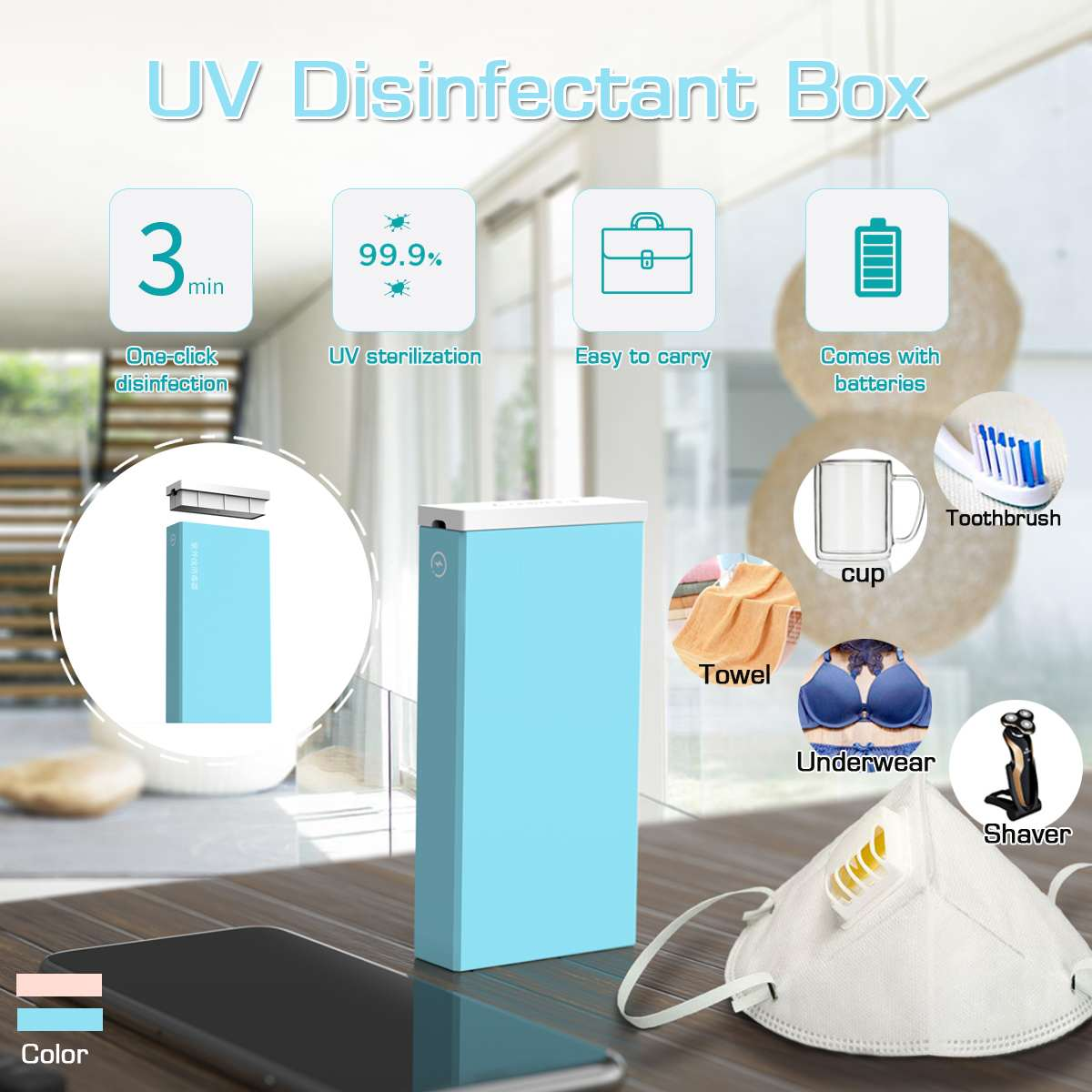 NEW 2 Colors Portable Disinfection Box USB Small Household Sterilizers LED UV Disinfection Family Sanitizers