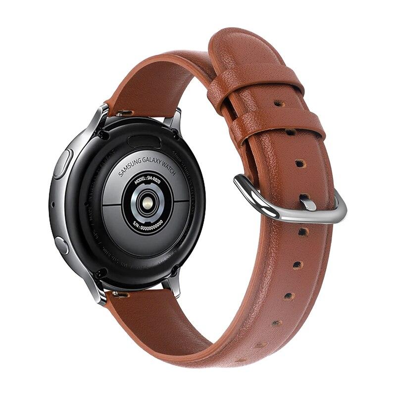 20mm 22mm Genuine Leather Watchband For Samsung Galaxy Watch 42mm Active Active2 40mm 44mm Leather Band Steel Clasp Strap Belt
