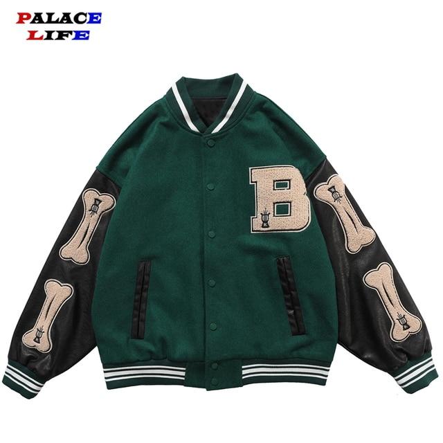 Hip Hop Furry Bone Patchwork Color Block Jackets Mens Harajuku College Style Bomber Jacket Men Baseball Coats 3 color 1