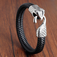 Snake Genuine Leather Bracelet & Bangle Head Accessories with Stainless Steel for Blessing Men Lucky Jewelry