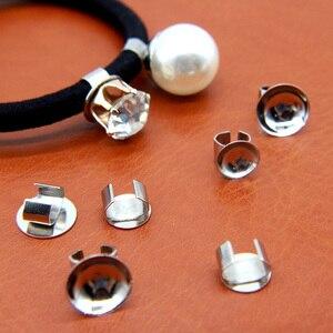 50 шт. серебристые металлические манжеты с накладками 10 мм 8 мм для крепления аксессуаров на эластичные повязки для волос, эластичные манжеты...