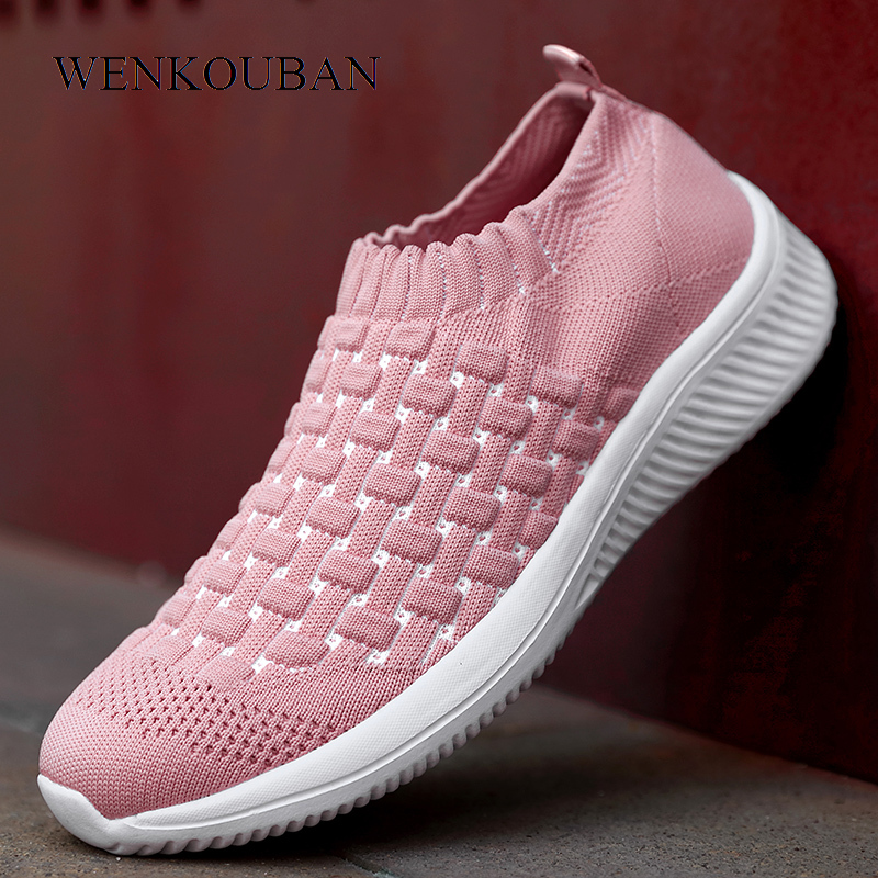 Winter Sneakers For Women Vulcanized Shoes Casual Ladies Trainers Air Mesh Sock Shoes Slip-On Women Flats Shoes Tenis Feminino