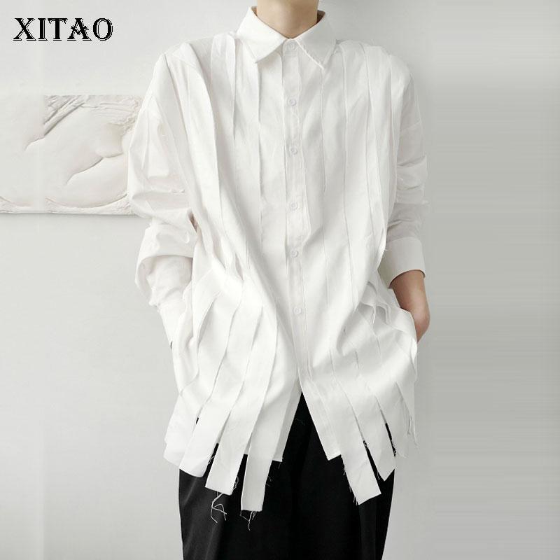 XITAO Tassel White Blouse Fashion New Full Sleeve 2020 Autumn Single Breast Pleated Small Fresh Casual Style Loose Shirt ZP2055