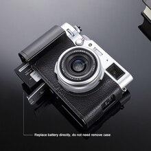 ของแท้กล้องหนังครึ่งโลหะGripจานDovetail Built InสำหรับFujifilm X100V Fuji X 100Vสีดำ