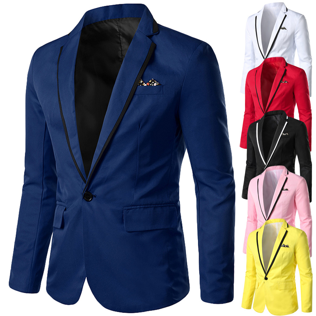 Blazer Masculino Homme Slim Fit For Men 2019 Stylish Casual Solid Blazer Business Wedding Party Outwear Coat Suit Tops