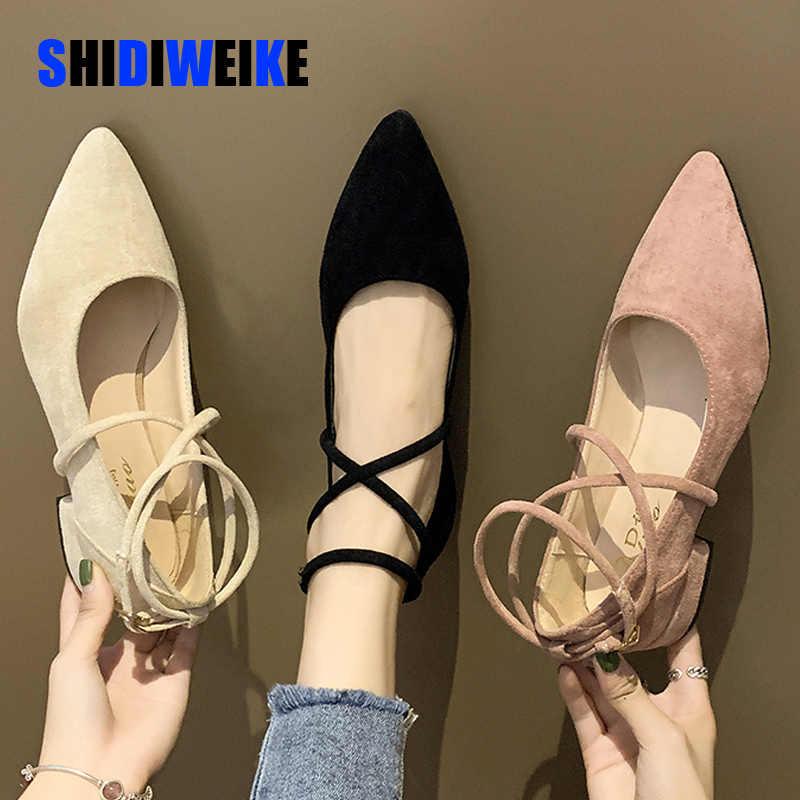 Lente Herfst Vrouwen Schoenen Zwart Enkelbandje Flats Enkel Warp Lage Hakken Dames Schoenen Wees Teen Platte Schoenen Zapatos Mujer AB247