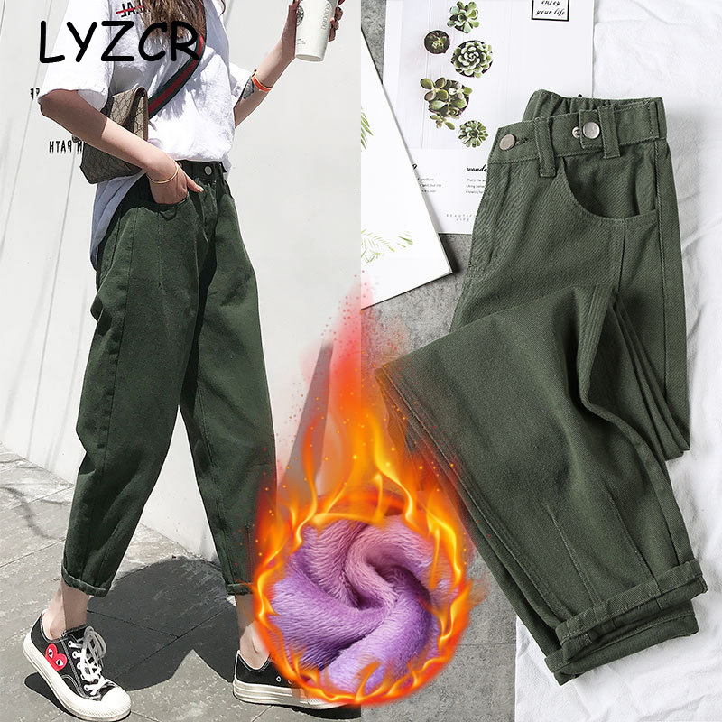 LYZCR Loose Harm Women's Fleece   Jeans   Female Candy Color Winter Warm   Jeans   Women High Waist Denim Pencil Pants Winter Trousers