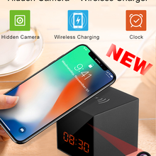 Mini Camera Clock Wireless-Charger Security Hidden Invisible Mobile Lens 1080P LED Full-Hd