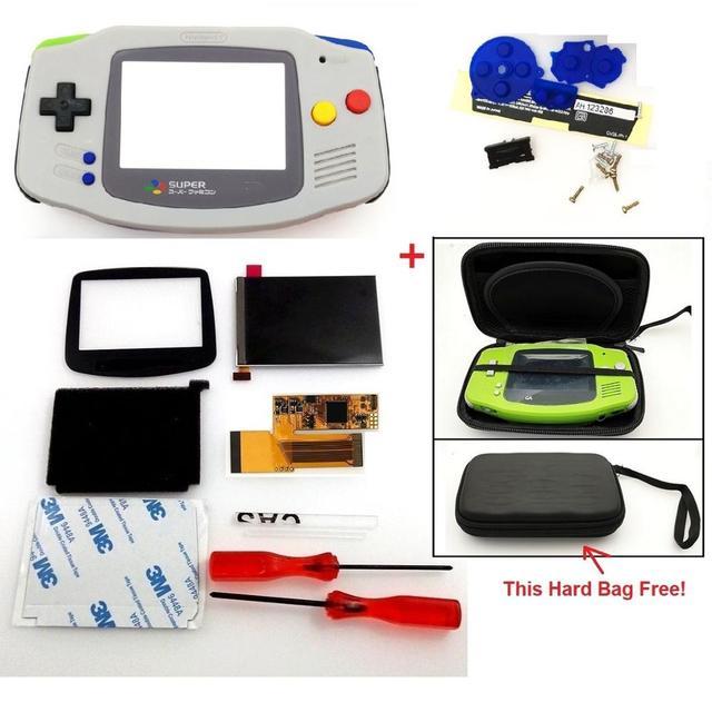 V2 ips tela lcd kits para gba backlight tela lcd 10 níveis de brilho tela lcd v2 para console gba e pré corte caso escudo