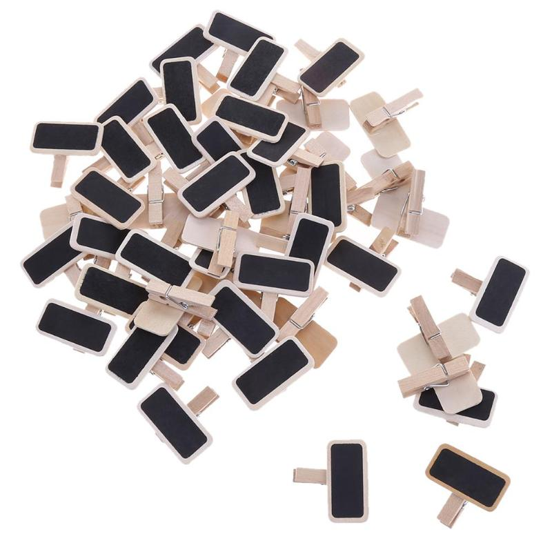 50pcs Mini Wooden Blackboard Clamps Note Folder Photo Clip Mark DIY Decor