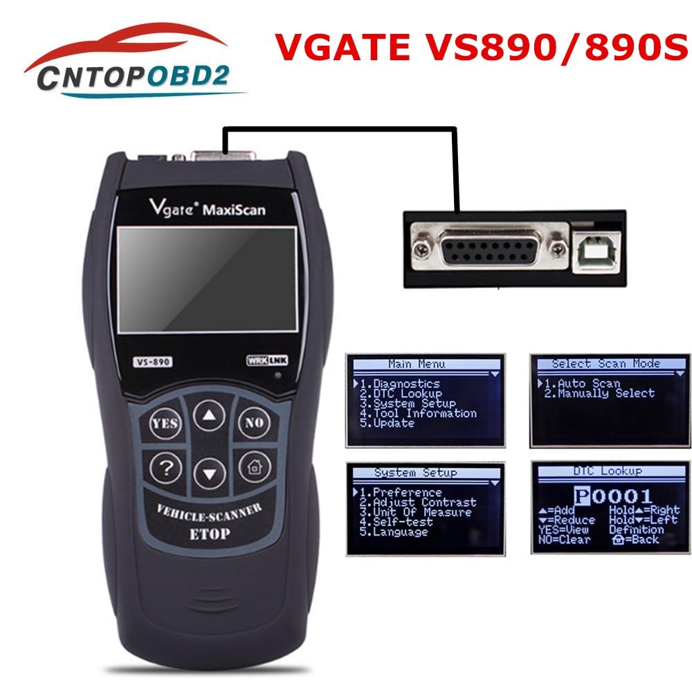 Universal Vgate VS890 OBD2 Auto Scanner OBDII Diagnostic Tool CAN-BUS Car Code Reader Analyzer VS-890 Multi-Languages VS890s