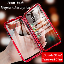 360 caixa magnética de metal completo para samsung galaxy s9 s8 s10 plus nota 9 8 10 plus s10 5g caso dupla face capa de vidro temperado
