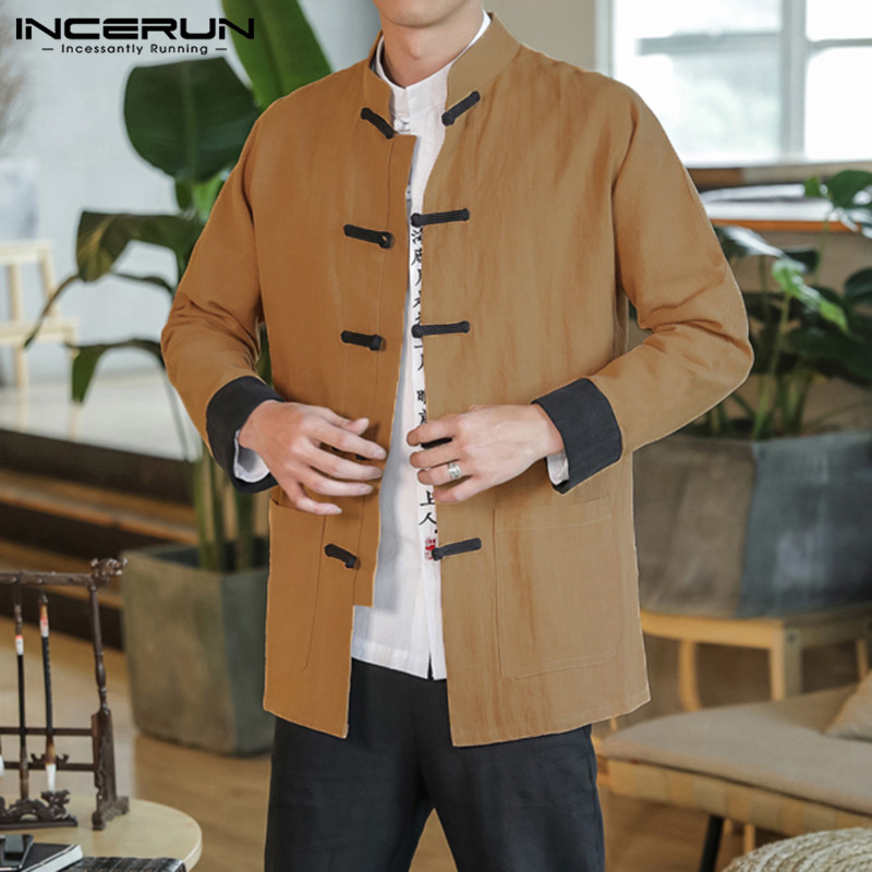 INCERUN Chinese Style Shirt Men Cotton Tang Suit Vintage Tops Button Patchwork Long Sleeve High Quality Mens Casual Shirts 2019